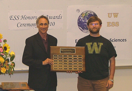 Photo of Peter Polivka receiving 	Undergrad Service Award.