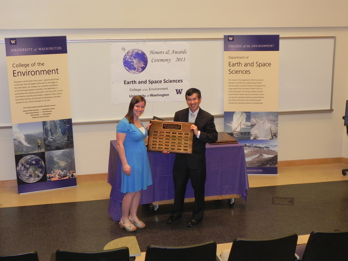 Photo of Rebecca Teel receiving Undergrad Service Award.