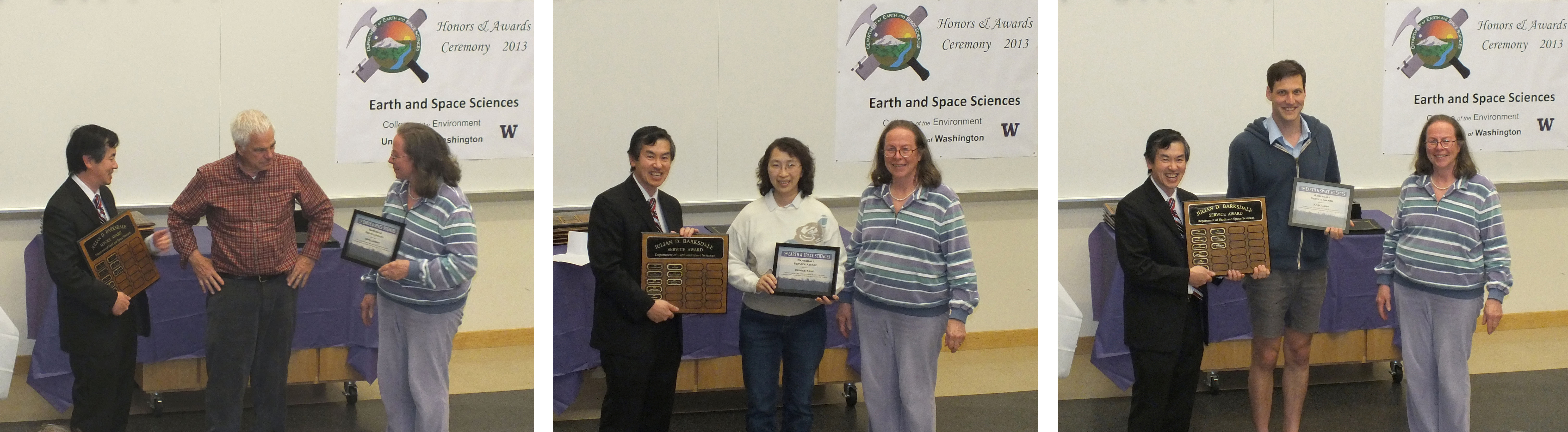 Photo of Eric Cheney, Karl Lang, and Eunice Yang receiving the Barksdale Service Award from Robert Winglee and Wilma Boyd.